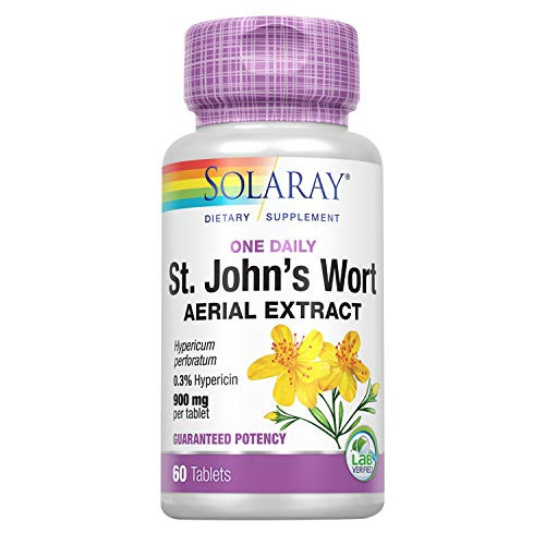 Solaray St. Johns Wort Aerial Extract One Daily 900mg | Standardized w/ 0.3% Hypericin for Mood Stability & Brain Health Support | Non-GMO | 60 Ct