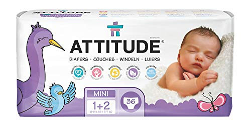 ATTITUDE Hypoallergenic Disposable Baby Diapers, Mini Size 1 + 2, 36 Count