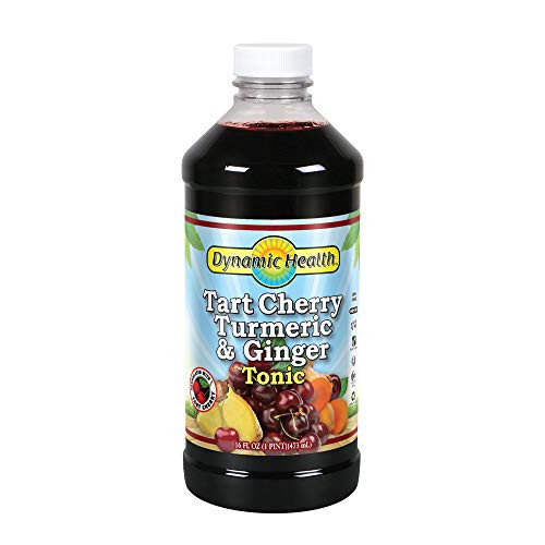 Dynamic Health Tart Cherry Juice Tonic with Turmeric & Ginger | Vegetarian and Kosher | Key Compounds | 16 oz, 16 Serv