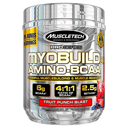 Post Workout BCAA Amino Acids | MuscleTech Myobuild Amino BCAAs | Muscle Builder & Muscle Recovery Powder | Featuring Taurine & Betaine | BCAAs Amino Acids Supplement | Fruit Punch (36 Servings)