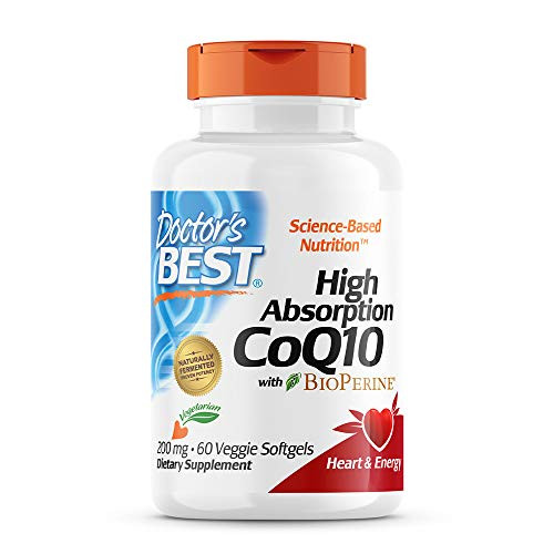 Doctor's Best High Absorption CoQ10 with BioPerine, Vegetarian, Gluten Free, Naturally Fermented, Heart Health & Energy Production, 200 mg 60 Veggie Softgels