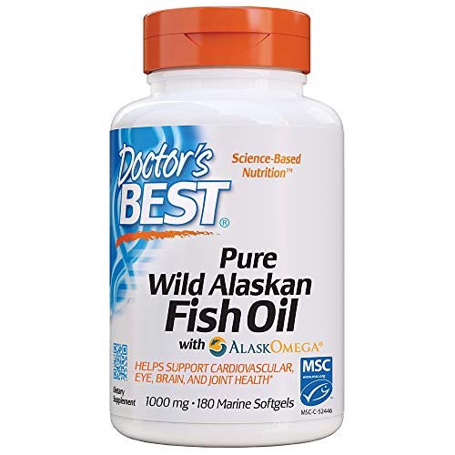 Doctor's Best Pure Wild Alaskan Fish Oil with AlaskOmega, Heart, Brain, Mental Wellbeing, Eyes, Non-GMO, Gluten Free, 180 Marine Softgels