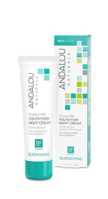 Andalou Naturals Night Cream Rich Nighttime Moisturizer for Face and Neck, Coconut Milk Youth Firm, 1.7 Ounce
