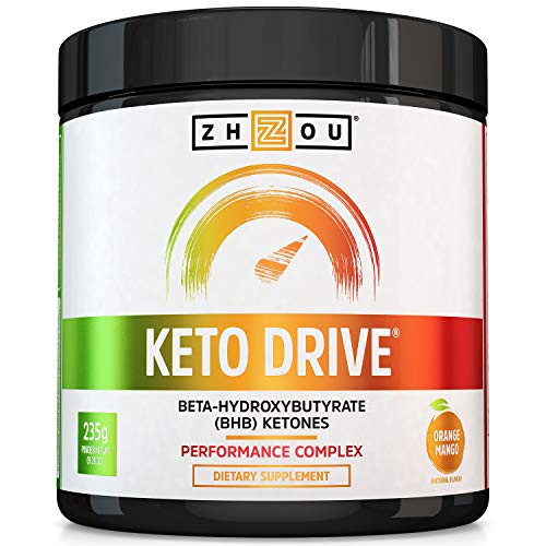Zhou Nutrition Keto Drive Exogenous Ketone Performance Complex - BHB Salts - Formulated for Ketosis, Energy and Focus - Patented Beta-Hydroxybutyrates (Calcium, Sodium, Magnesium) - Orange Mango