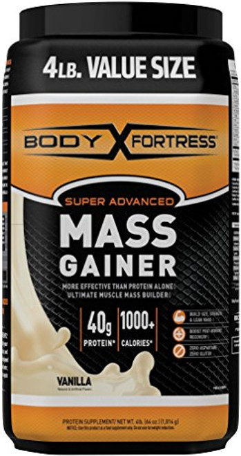 Body Fortress Super Advanced Whey Protein Powder Mass Gainer, Gluten Free, Vanilla, 4 lbs (Packaging May Vary)