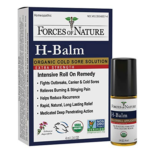 Forces Of Nature – Natural, organic, h-balm Control Extra Strength Cold Sore, fever Blister Treatment (4ml) Non Gmo, No Harmful Chemicals -Fast Relief for Tingling, burning & Itching Pain