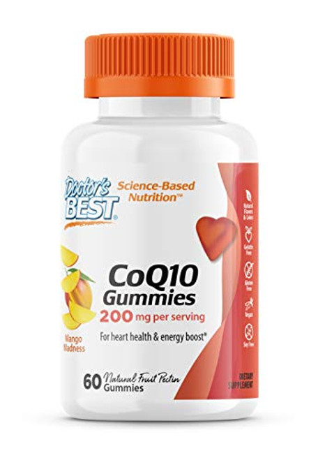 Doctor's Best CoQ10 Gummies 200 Mg, Coenzyme Q10 (Ubiquinone), Supports Heart Health, Boost Cellular Energy, Potent Antioxidant, 60 Ct (Packaging May Vary)
