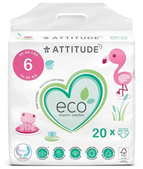 ATTITUDE Non-Toxic Diapers, Eco-Friendly, Hypoallergenic, Safe for Sensitive Skin, Chlorine-Free, Leak-Free & Biodegradable Baby Diapers, Plain White (Unprinted), Size 6 (35-66 lbs), 20 Count