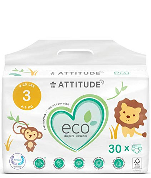 ATTITUDE Natural Diapers, Non-Toxic, Eco-Friendly, Safe for Sensitive Skin, Chlorine-Free, Leak-Free & Biodegradable Baby Diapers, Plain White (Unprinted), Size 3 (9-20 lbs), 30 Count (16230)