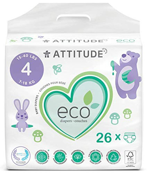 ATTITUDE Eco-Friendly Diapers, Non-Toxic, Hypoallergenic, Safe for Sensitive Skin, Chlorine-Free, Leak-Free & Biodegradable Baby Diapers, Plain White (Unprinted), Size 4 (15-40 lbs), 26 Count (16240)
