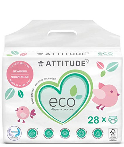 ATTITUDE NonToxic Diapers EcoFriendly Safe for Sensitive Skin ChlorineFree LeakFree Biodegradable Baby Diapers lbs, Plain White (Unprinted), Fragrance Free, 28 Count