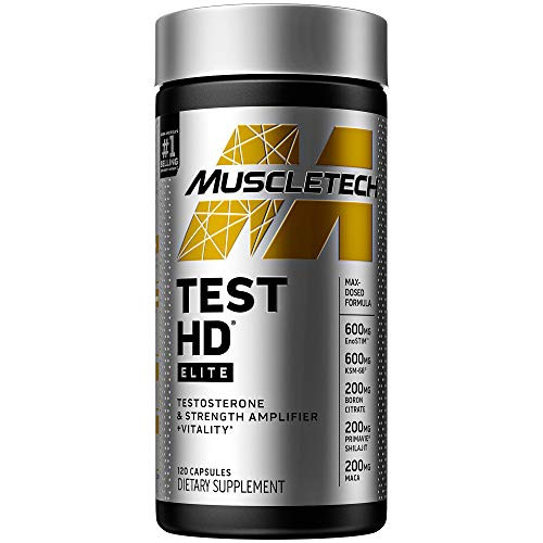 Testosterone Booster for Men | MuscleTech Test HD Elite Test Booster | Muscle Builder + Nitric Oxide Booster | Boron Supplement & Tribulus Terrestris for Men | Increased Blood Flow | 120 Count