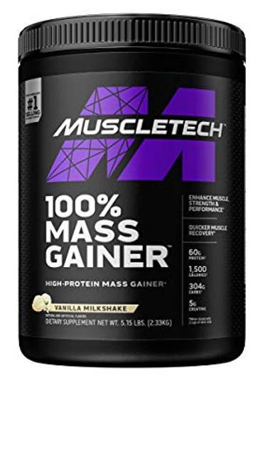 Mass Gainer | MuscleTech 100% Mass Gainer Protein Powder | Protein Powder for Muscle Gain | Whey Protein + Muscle Builder | Weight Gainer Protein Powder | Creatine Supplements | Vanilla, 5.15 lbs