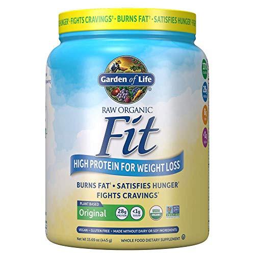 Garden of Life Raw Organic Fit Powder, Original - High Protein for Weight Loss (28g) plus Fiber, Probiotics & Svetol, Organic & Non-GMO Vegan Nutritional Shake, 10 Servings