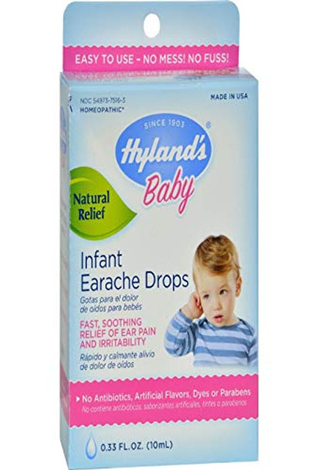 Hyland's Baby Infant Ear Drops, Natural Homeopathic Earache Pain Relief from Allergy and Cold & Flu, 0.33 Ounce
