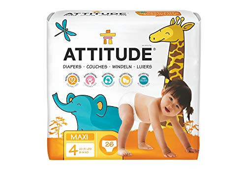 ATTITUDE Hypoallergenic Disposable Baby Diapers, Maxi Size 4, 26 Count