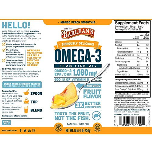 Barlean's Seriously Delicious Omega-3 Fish Oil, Mango Peach Smoothie, 8oz