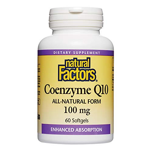Natural Factors, Coenzyme Q10 100mg, CoQ10 Supplement for Energy, Heart and Antioxidant Support, 60 softgels (60 servings)