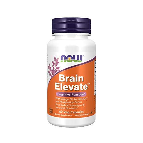 NOW Supplements, Brain Elevate, Featuring Ginkgo Biloba, RoseOx and Phosphatidyl Serine, 60 Veg Capsules