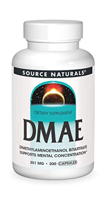 Source Naturals DMAE, Dimethylaminoethanol Bitartrate - Supports Mental Concentration - 200 Capsules