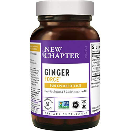 New Chapter Ginger Supplement - Ginger Force with Supercritical Organic Ginger + Non-GMO Ingredients - 60 ct Vegetarian Capsules-1610398462