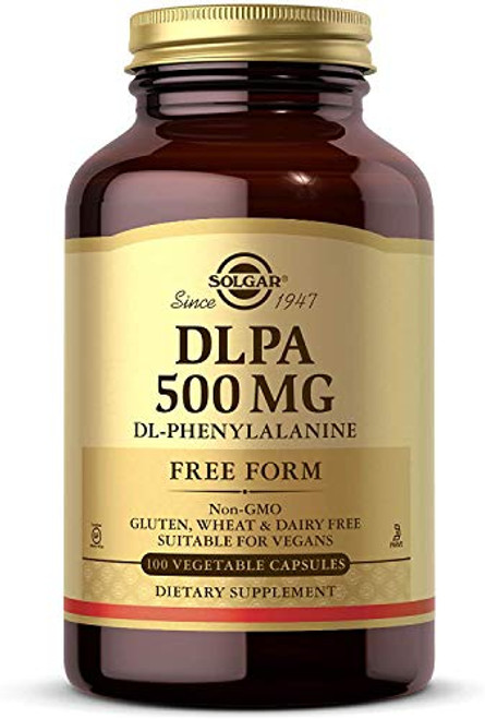 Solgar DLPA 500 mg, 100 Vegetable Capsules - Free Form DL-Phenylalanine - Supports Central Nervous System - Vegan, Gluten Free, Dairy Free, Kosher - 100 Servings