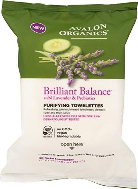 Avalon Organics Brilliant Balance Purifying Towelettes, 30 Count