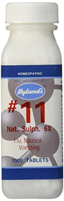 Cold and Flu Medicine, Nausea Relief, Homeopathic Treatment, Hyland's Cell Salts #11 Natrum Sulphuricum 6X Tablets, 1000 Count