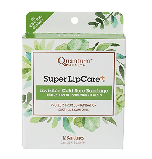 Quantum Health Super LipCare+ Invisible Cold Sore/Fever Blister Bandages - Soothes and Protects, Helps Prevent Contamination and Hide Sores, 12 Ct