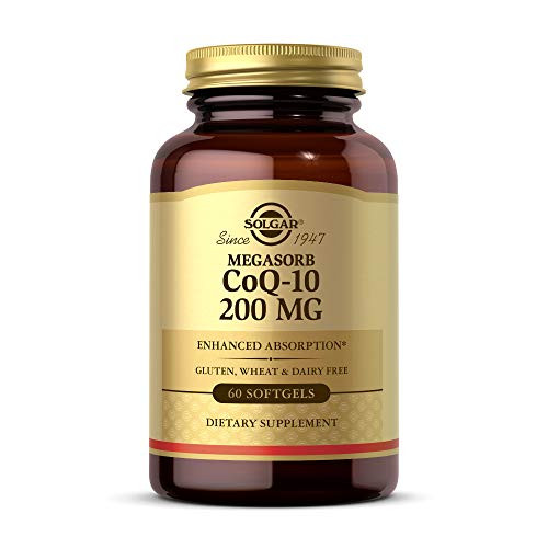 Solgar Megasorb CoQ-10 200 mg, 60 Softgels - Supports Heart & Brain Function - Coenzyme Q10 Supplement - Enhanced Absorption - Gluten Free, Dairy Free - 60 Servings