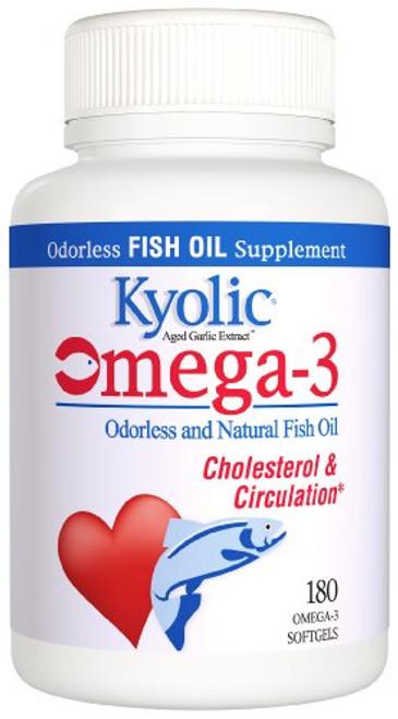 Kyolic Aged Garlic Extract Omega-3, Cholesterol and Circulation, 180 soft gels