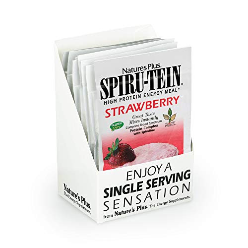 NaturesPlus SPIRU-TEIN Shake - Strawberry - 8 Single Serving Packets, Spirulina Protein Powder - Plant Based Meal Replacement, Vitamins & Minerals For Energy - Vegetarian - 8 Servings