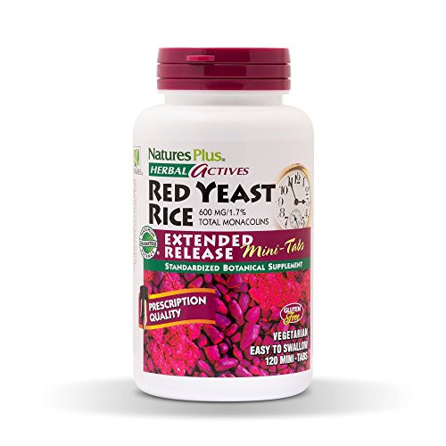 NaturesPlus Herbal Actives Red Yeast Rice, Extended Release - 600mg, 120 Mini Tablets - Herbal Supplement, Cholesterol Support - Vegan, Vegetarian, Gluten-Free - 60 Servings