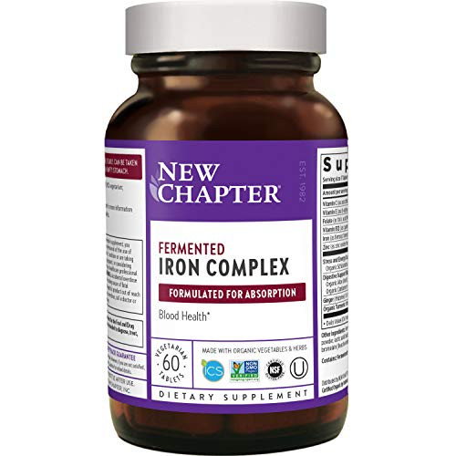 New Chapter Iron Supplement, Fermented Iron Complex (Formerly Iron Food Complex) with Organic Whole-Food Ingredients + Promotes Healthy Iron Levels + Non-Constipating - 60 ct (Packaging May Vary)