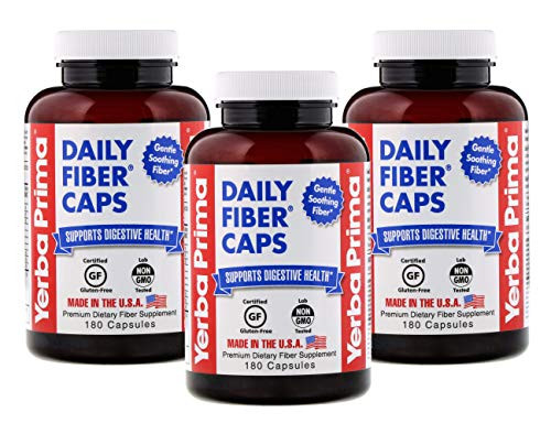 Yerba Prima Daily Fiber Caps - 180 Capsules, (Pack of 3)