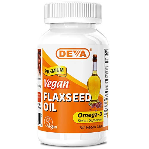 Deva Organic Vegan Vitamins Flax Seed Oil, Omega-3, 90 Vcaps (Pack of 2)