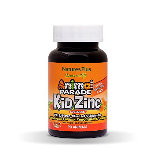 NaturesPlus Animal Parade Source of Life KidZinc Lozenges - Tangerine Flavor - 90 Animal Shaped Tablets - Chelated Zinc Immune Support Supplement - Vegetarian, Gluten-Free - 90 Servings