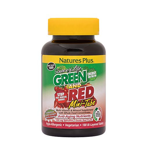 NaturesPlus Source of Life Green and Red Mini-Tabs - 180 Vegetarian Mini Tablets - Green & Red Superfood Supplement, Energy Booster, Antioxidant - Gluten-Free - 30 Servings