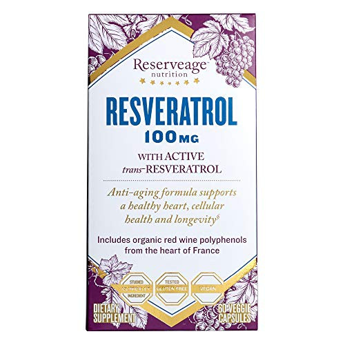 Reserveage, Resveratrol 100 mg Antioxidant Supplement for Heart and Cellular Health, Supports Healthy Aging, Paleo, Keto, 60 capsules (60 servings)