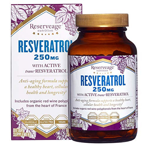 Reserveage, Resveratrol 250 mg, Antioxidant Supplement for Heart and Cellular Health, Supports Healthy Aging, Paleo, Keto, 60 Capsules