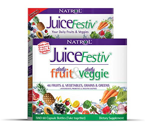 Natrol Juicefestiv Daily Fruits and Veggies Capsules with SelenoExcell for Improved Metabolism, Boosts Energy and Well-Being, 120 Count