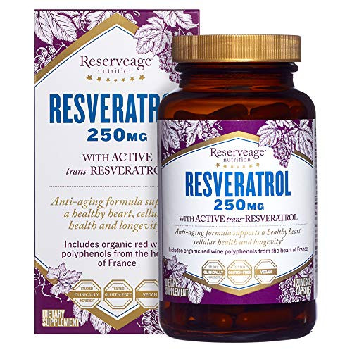 Reserveage, Resveratrol 250 mg, Antioxidant Supplement for Heart and Cellular Health, Supports Healthy Aging, Paleo, Keto, 120 Capsules