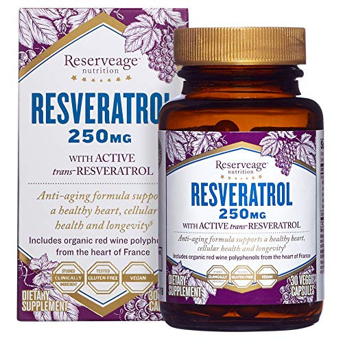 Reserveage, Resveratrol 250 mg, Antioxidant Supplement for Heart and Cellular Health, Supports Healthy Aging, Paleo, Keto, 30 capsules (30 servings)