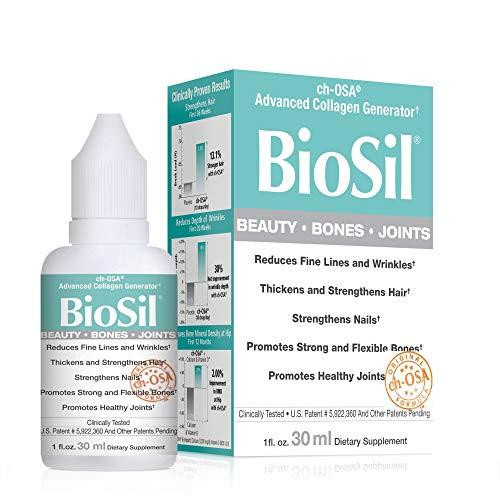 BioSil by Natural Factors, Beauty, Bones, Joints Liquid, Supports Healthy Hair, Skin and Nails, Vegan Collagen, Elastin and Keratin Generator, 1 fl oz (120 servings)