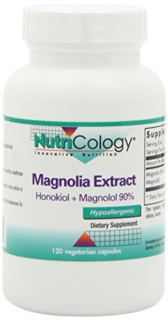 NutriCology Magnolia Extract - Stress and Sleep Support, Cortisol Balance - 120 Vegetarian Capsules