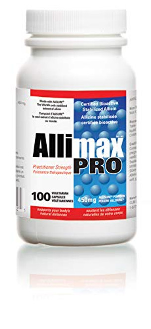 Allimax Pro 450mg 100 Vegicaps. Allicin Garlic Supplement to Support Your Body's Immune Function. With Stabilized Allicin Extracted from Clean & Sustainable Spanish Grown Garlic. Professional Strength
