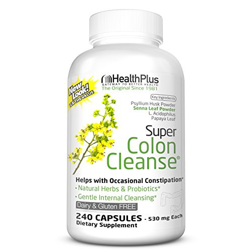 Health Plus Inc Super Colon Cleanse 530 mg 240 Capsules, Package may vary