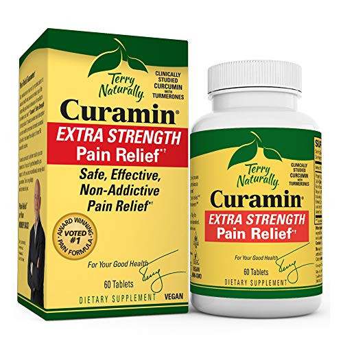 Terry Naturally Curamin Extra Strength - 60 Vegan Tablets - Non-Addictive Pain Relief Supplement with Curcumin from Turmeric, Boswellia & DLPA - Non-GMO, Gluten-Free - 20 Servings