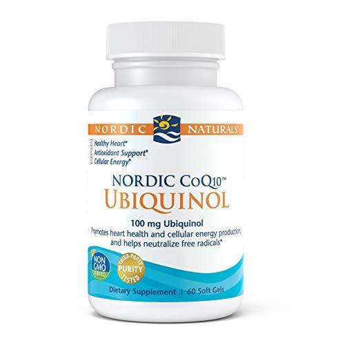 Nordic Naturals Nordic CoQ10 Ubiquinol - 100 mg Coenzyme Q10 (CoQ10) Ubiquinol - 60 Mini Soft Gels - Heart & Brain Health, Cellular Energy Production, Antioxidant Support - Non-GMO - 60 Servings