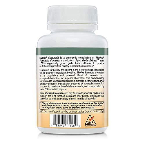 Kyolic Aged Garlic Extract Curcumin Healthy Inflammation Response Supplement, 100 Capsules